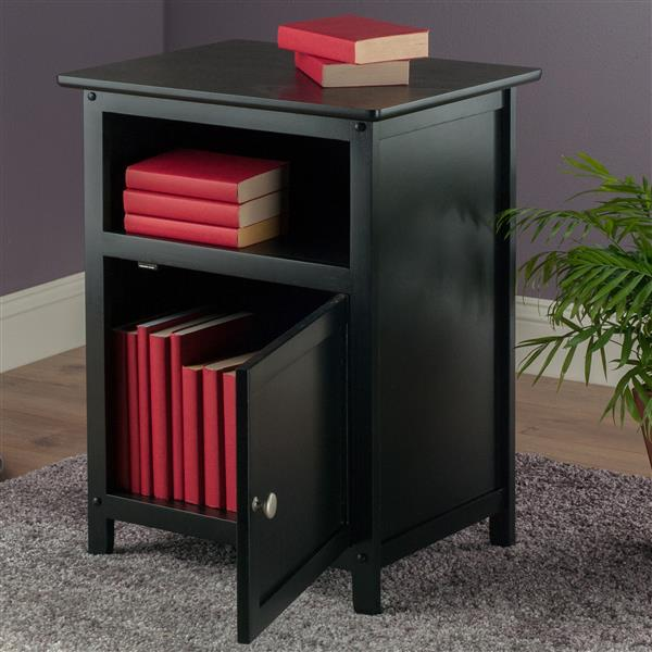 Winsome Wood Henry 18.9-in x 25-in Black Wood End Table