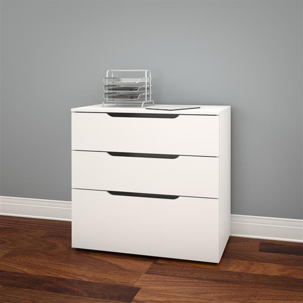 Nexera Arobas White 3-Drawer Filing Cabinet
