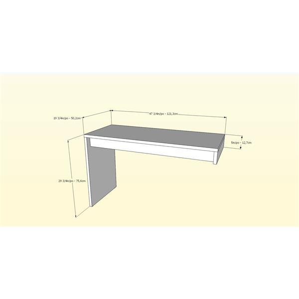 Surface de travail réversible Liber-T, blanc/noyer