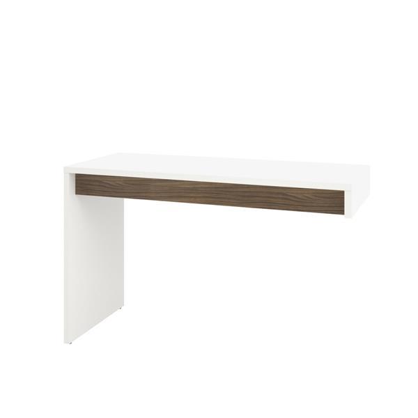 Nexera Liber-T White and Walnut Reversible Desk Panel
