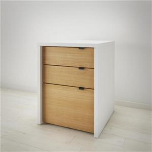 Chrono White and Maple Filing Cabinet