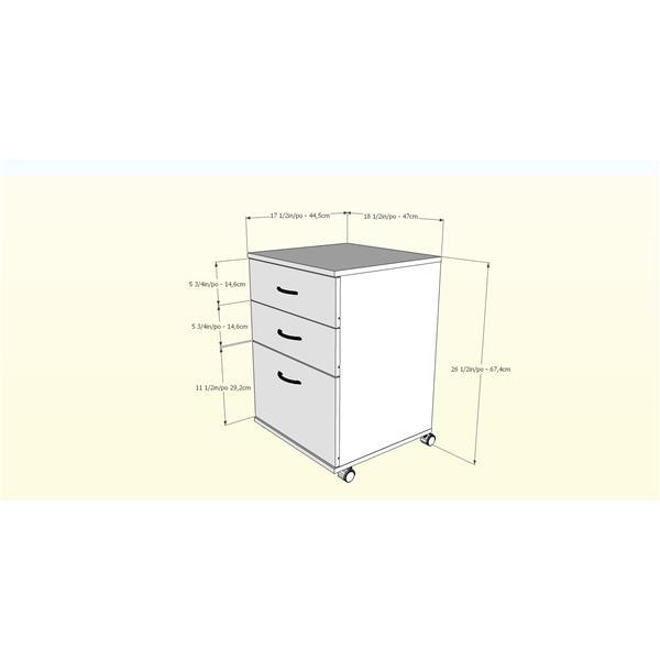 Nexera Essentials Truffle 3-Drawer Mobile Filing Cabinet
