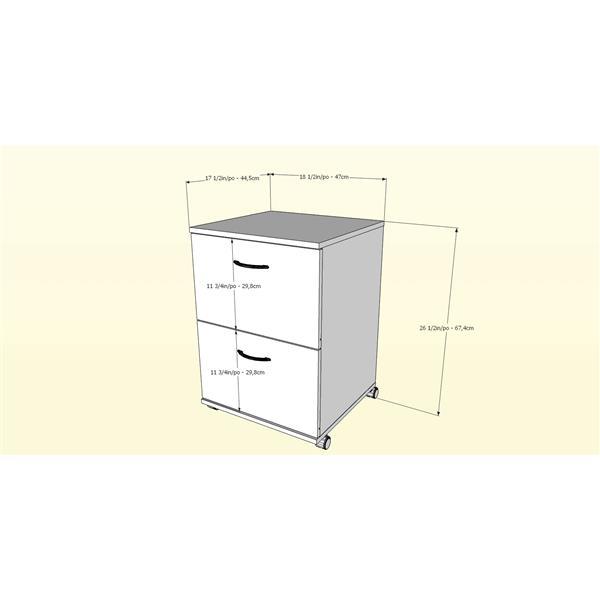 Nexera Essentials Walnut 2-Drawer Mobile Filing Cabinet