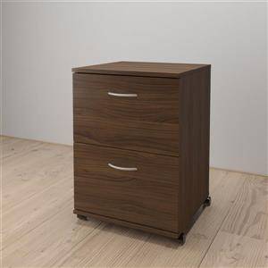 Essentials Walnut 2-Drawer Mobile Filing Cabinet
