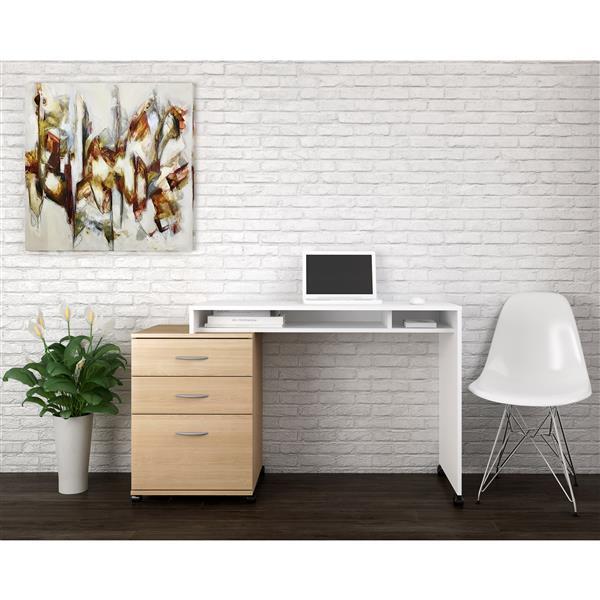 Ensemble de bureau à 2 pièces Essentials, érable/blanc