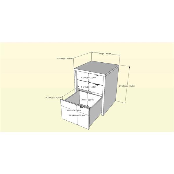 Nexera Chrono White and Maple 3-Piece Home Office Set