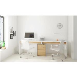 Ensemble de bureau à 3 pièces Chrono, érable/blanc