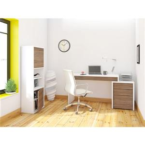 Nexera Liber-T White and Walnut 3-Piece Home Office Set