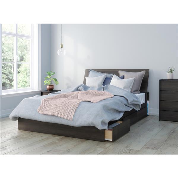 Ens. de chambre à coucher Celeste grand lit, 3 mcx, ébène