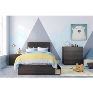 Ens. de chambre à coucher Alaska simple, 4 mcx, ébène