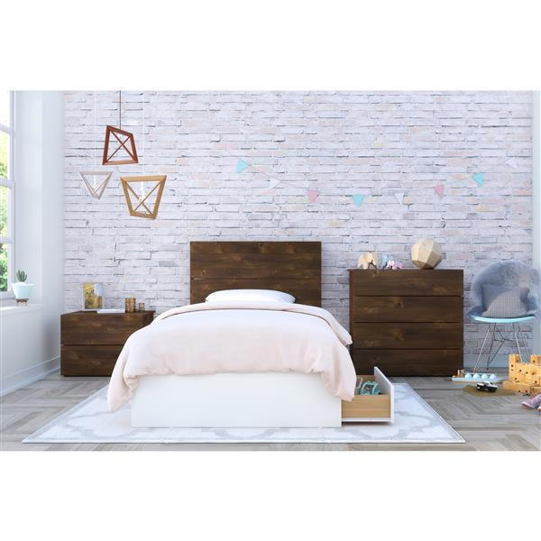 Nexera Modena 4 Piece Truffle And White Twin Bedroom Set 402030 Rona