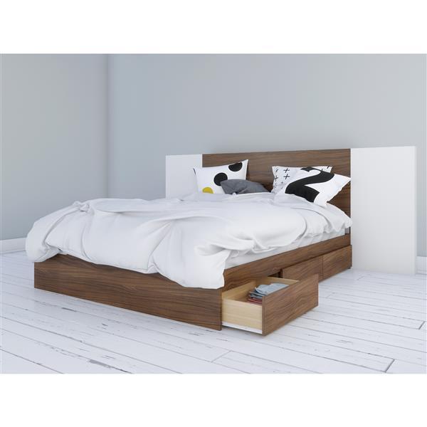 Nexera 3 Piece Walnut and White Queen Storage Bedroom Set