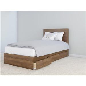 Nexera 2 Piece Walnut Twin Storage Bedroom Set