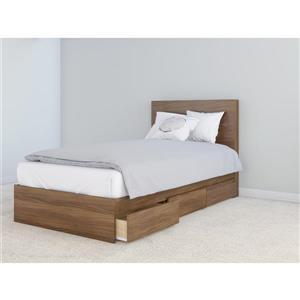 Nexera 2 Piece Walnut Twin Storage Bedroom Set