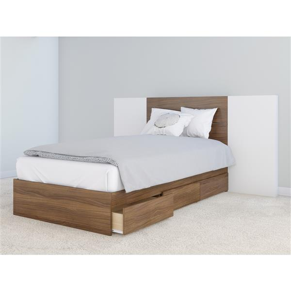Nexera 3 Piece Walnut and White Twin Bedroom Set