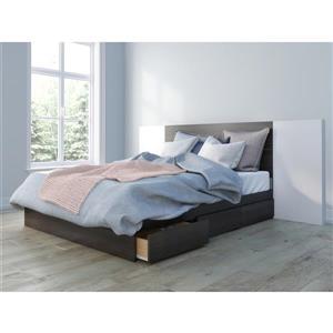Ens. de chambre à coucher grand lit, 3 mcx, ébène/blanc