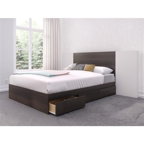 Nexera 3 Piece Ebony and White Full Bedroom Set with Storage