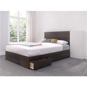 Ens. de chambre à coucher Nexera double, 3 mcx, ébène/blanc