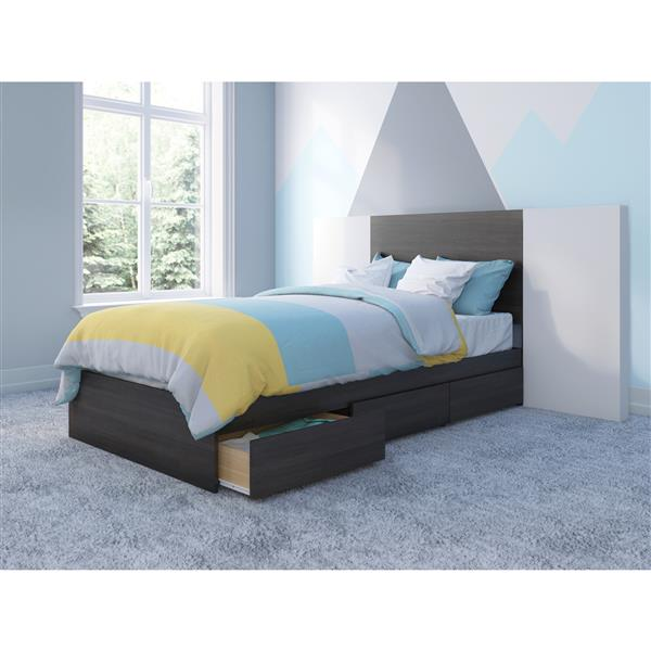 Nexera 3 Piece Ebony and White Twin Bedroom Set