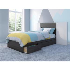 Nexera 3 Piece Ebony and White Twin Bedroom Set