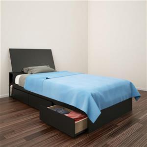 Ens. de chambre à coucher Avenue simple, 2 mcx, noir