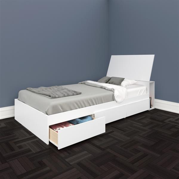 Nexera Blvd 2 Piece White Twin Storage Bedroom Set