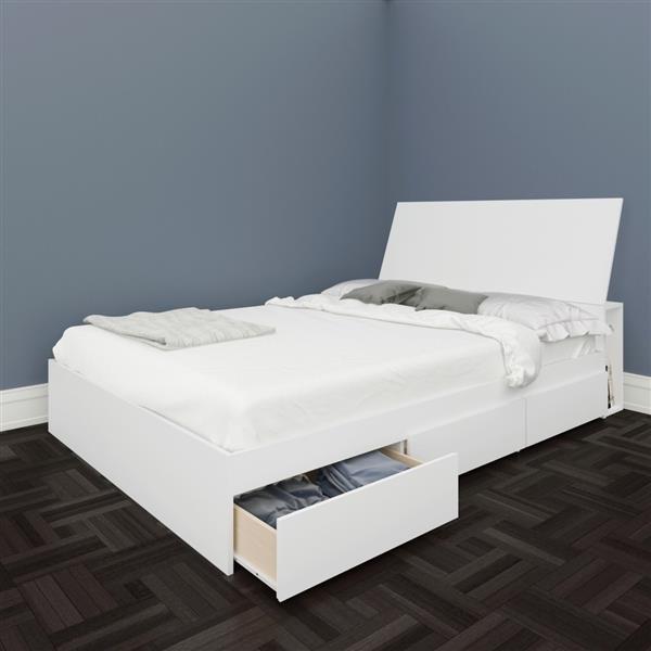 Ens. de chambre à coucher Blvd double, 2 mcx, blanc