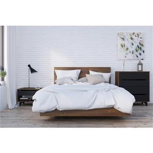 Ens. de chambre à coucher grand lit, 4 mcx, brun/noir