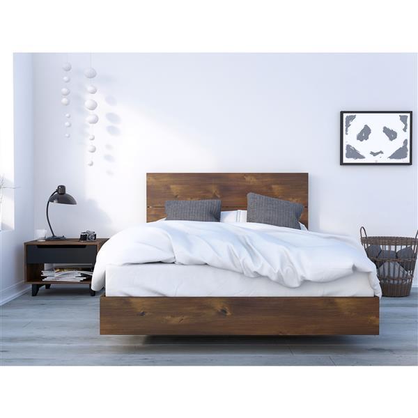 Ens. de chambre à coucher Barista double, 3 mc, brun/noir