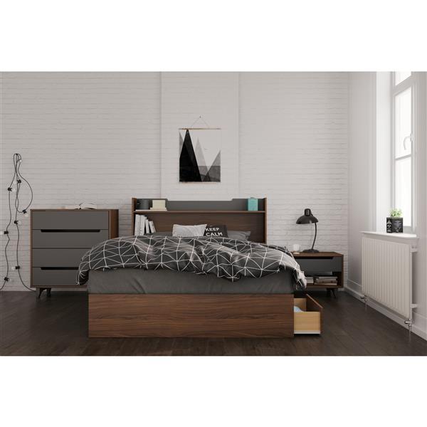 Nexera Cartel 4 Piece Walnut Full Bedroom Set