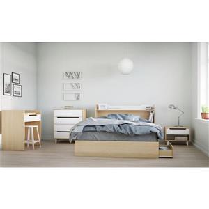 Ens. de chambre à coucher grand lit, 5 mcx, érable/blanc