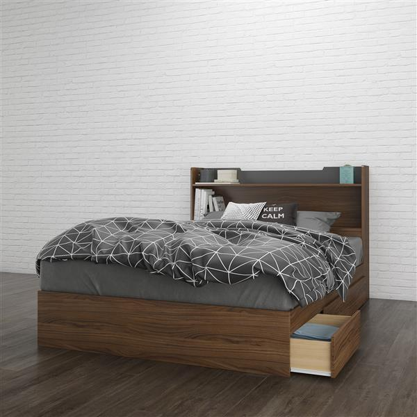 Nexera 2 Piece Walnut Full Bedroom Set with Storage