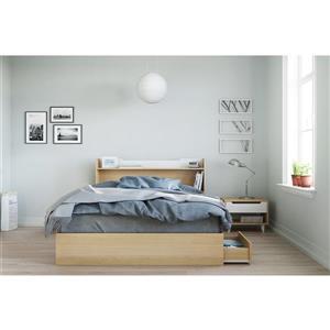 Ens. de chambre à coucher grand lit, 3 mcx, érable/blanc