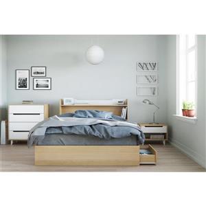 Nexera Nomad 3 Piece Maple and White Queen Bedroom Set