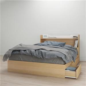 Ens. de chambre à coucher grand lit, 2 mcx, érable/blanc