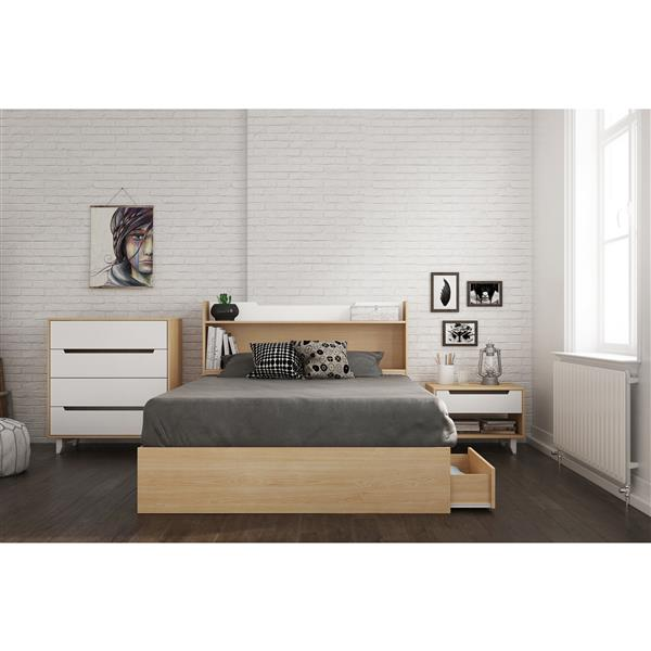Nexera Nomad 4 Piece Maple and White Full Bedroom Set