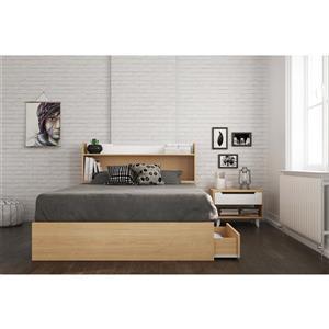 Ens. de chambre à coucher Nomad double, 3 mcx, érable/blanc
