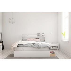 Ens. de chambre à coucher Aura grand lit, 3 mcx, blanc