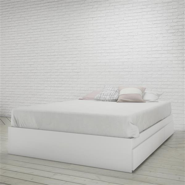 Ens. de chambre à coucher Aura double, 3 mcx, blanc