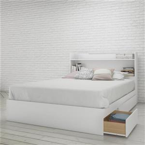 Nexera 2 Piece White Full Bedroom Set with Storage