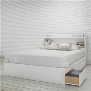 Ens. de chambre à coucher Nexera double, 2 mcx, blanc