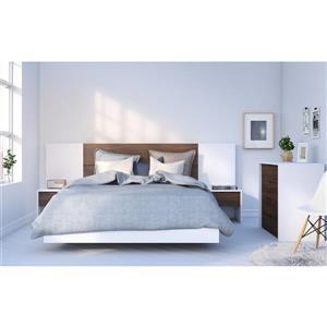 Ens. de chambre à coucher grand lit, 6 mcx noyer/blanc