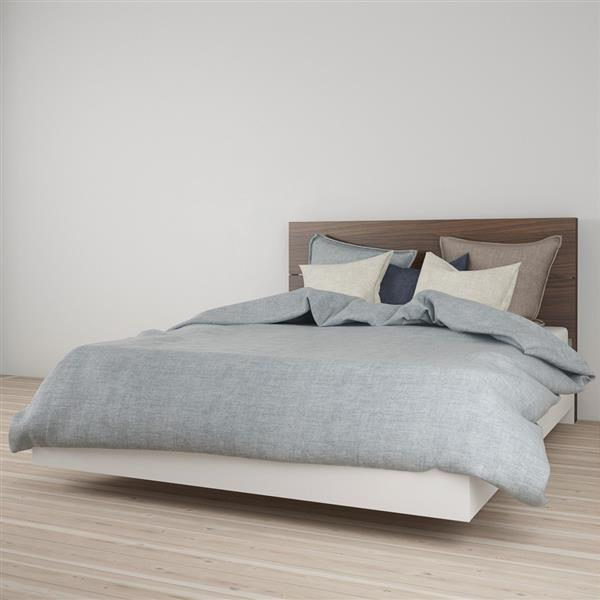 Ens. de chambre à coucher grand lit, 2 mcx, blanc/noyer