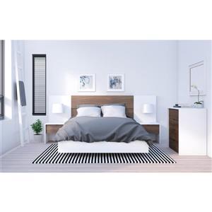 Ens. de chambre à coucher double, 6 mcx, blanc/noyer