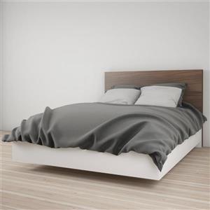 Ens. de chambre à coucher double, 2 mcx, blanc/noyer
