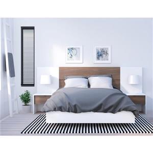 Ens. de chambre à coucher double, 5 mcx, blanc/noyer