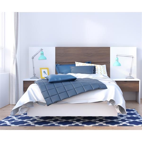 Ens. de chambre à coucher simple, 5 mcx, blanc/noyer