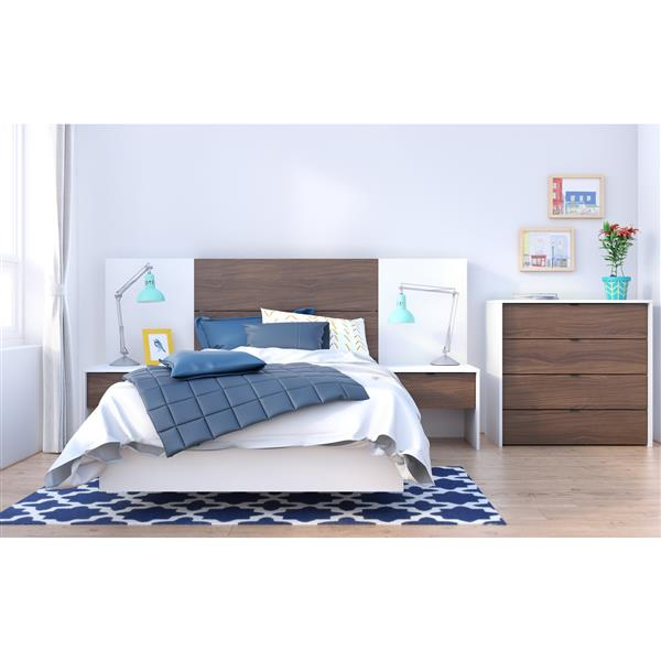 Ens. de chambre à coucher simple, 6 mcx, blanc/noyer