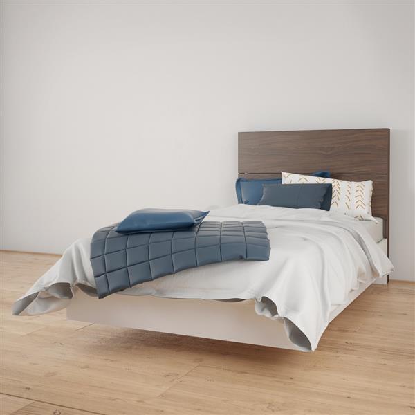 Ens. de chambre à coucher Nexera simple, 2 mcx, blanc/noyer