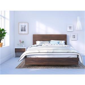 Ens. de chambre à coucher grand lit, 3 mcx, blanc/noyer